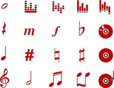 birdsong: Vector icons pack - Red Series, music collection Illustration