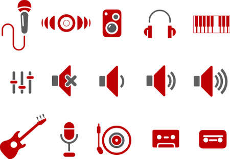 Vector icons pack - Red Series, music collection Illustration