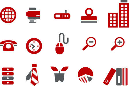 Vector icons pack - Red Series, office collection Stock Vector - 5057519