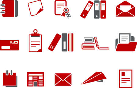 Vector icons pack - Red Series, paper collection Stock Vector - 5057533