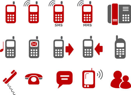 the phone rings: Pack de iconos vectoriales - Serie Roja, tel�fonos colecci�n Vectores