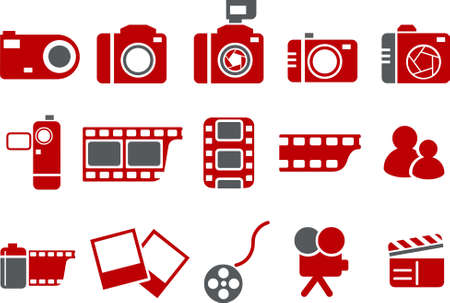 Vector icons pack - Red Series, photo collection Illustration