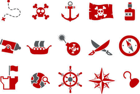 Vector icons pack - Red Series, pirate collection