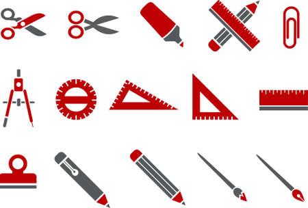 Vector icons pack - Red Series, school collection