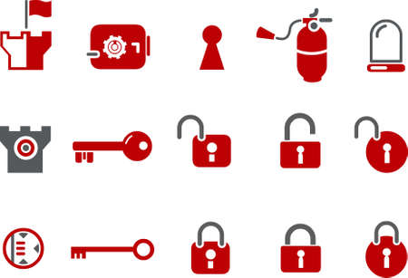 backsight: Vector icons pack - Red Series, security collection Illustration