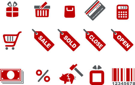 Vector icons pack - Red Series, shopping collection