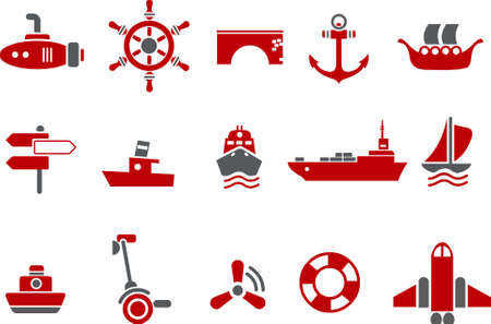 lifebelt: Vector icons pack - Red Series, transport collection