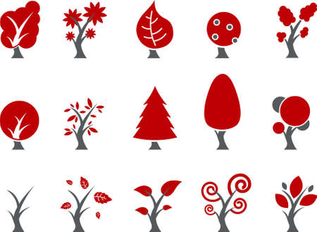 Vector icons pack - Red Series, tree collection
