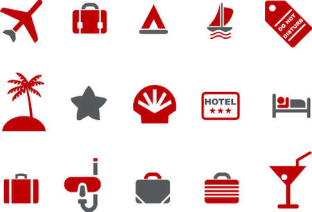 hotel rooms: Vector icons pack - Red Series, vacation collection
