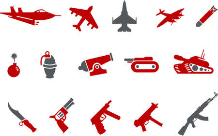 Vector icons pack - Red Series, weapons collection Vector