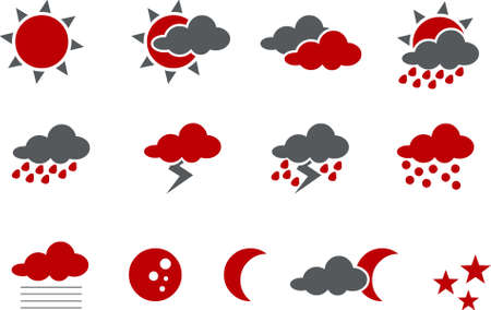 Vector icons pack - Red Series, weather collection Stock Vector - 5057536