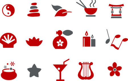 scented candle: Vector icons pack - Red Series, zen collection