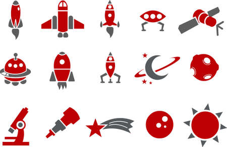 booster: Vector icons pack - Red Series, space collection