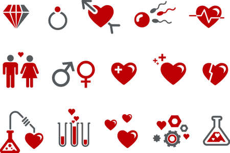 gender symbol: Vector icons pack - Red Series, s.valentine collection Illustration