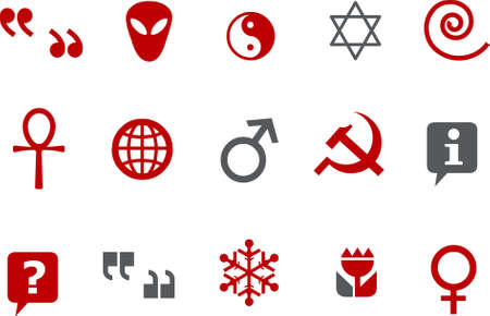 Vector icons pack - Red Series, symbols collection Vector