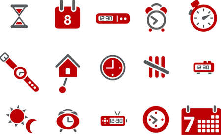 Vector icons pack - Red Series, time collection Vector