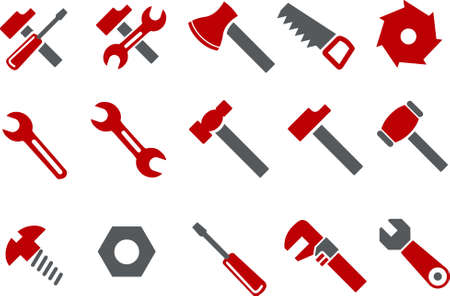 handsaw: Vector icons pack - Red Series, tool collection Illustration