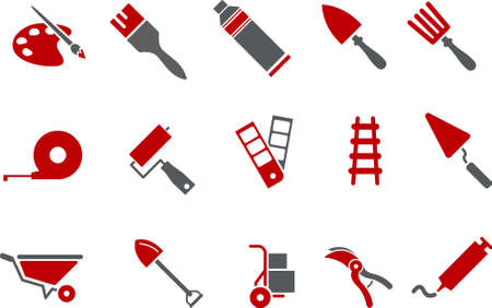 Vector icons pack - Red Series, tool collection Illustration