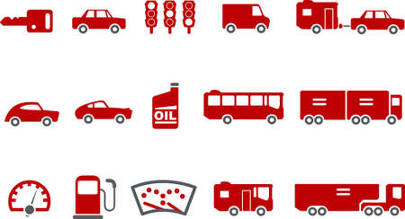 Vector icons pack - Red Series, transport collection Vector
