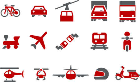 Vector icons pack - Red Series, transport collection Stock Vector - 5057559