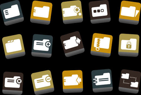 Vector icons pack - Yellow-Brown-Blue Series, folder collection Stock Vector - 5057680