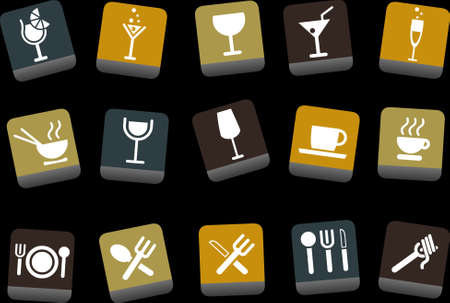 Vector icons pack - Yellow-Brown-Blue Series, food collection