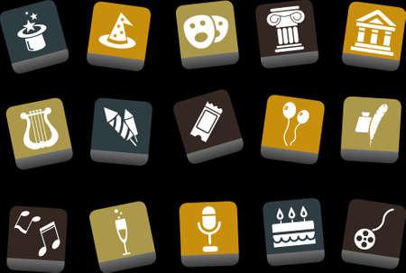a poet: Vector iconos pack - Amarillo-Marr�n-Serie Azul, el entretenimiento y la colecci�n de arte