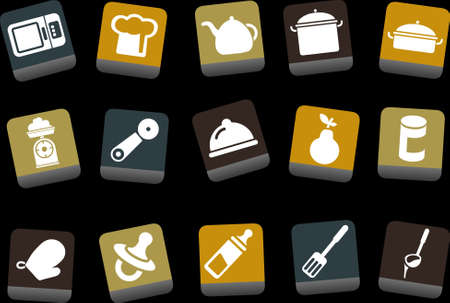 Vector icons pack - Yellow-Brown-Blue Series, food collection Stock Vector - 5057668