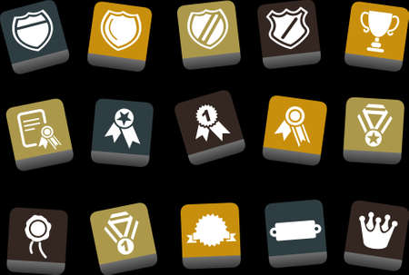 Vector icons pack - Yellow-Brown-Blue Series, badges collection  Vector