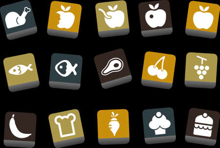 Vector icons pack - Yellow-Brown-Blue Series, food collection  Vector