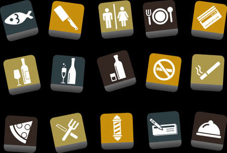 Vector icons pack - Yellow-Brown-Blue Series, bar and restaurant collection  Vector