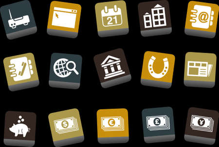 Vector icons pack - Yellow-Brown-Blue Series, business collection  Vector