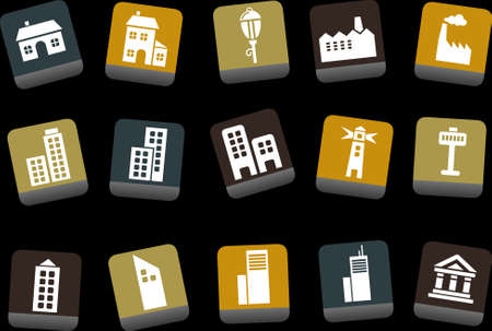 Vector icons pack - Yellow-Brown-Blue Series, city collection