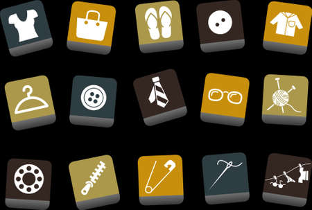 Vector icons pack - Yellow-Brown-Blue Series, clothing collection  Vector