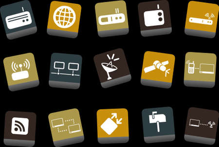 mobile voip: Vector icons pack - Yellow-Brown-Blue Series, communication collection