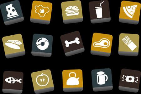 cafe bombon: Iconos Vector pack - color amarillo-marr�n-azul de la serie, la recogida de alimentos