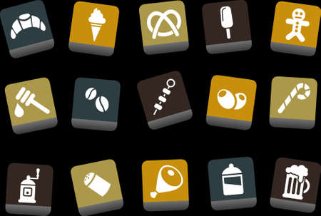 broach: Vector icons pack - Yellow-Brown-Blue Series, food collection Illustration