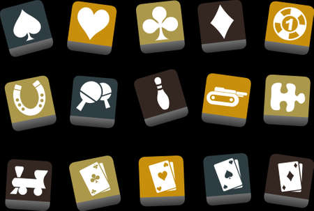 Vector icons pack - Yellow-Brown-Blue Series, game collection Vector