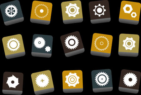 Vector icons pack - Yellow-Brown-Blue Series, gear collection Stock Vector - 5057714