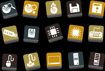 Vector icons pack - Yellow-Brown-Blue Series, computer collection Vector
