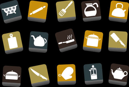 fryer: Vector icons pack - Yellow-Brown-Blue Series, cooking tools collection
