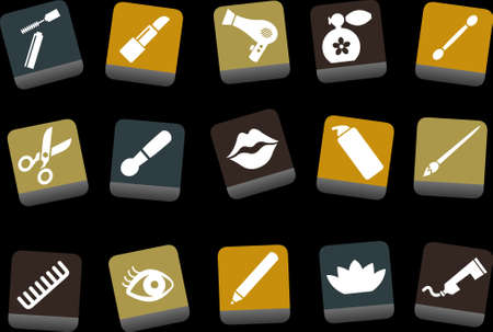 Vector icons pack - Yellow-Brown-Blue Series, make-up collection