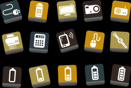 clock radio: Vector icons pack - Yellow-Brown-Blue Series, electronic collection Illustration