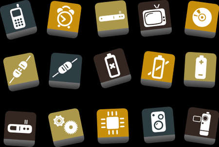 Vector icons pack - Yellow-Brown-Blue Series, electronic collection Vector