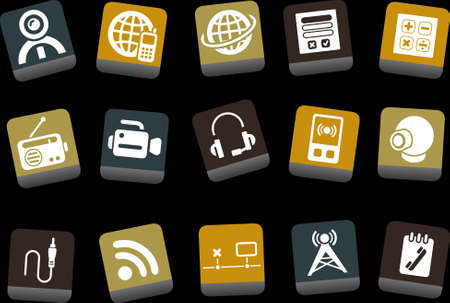 Vector icons pack - Yellow-Brown-Blue Series, electronic collection Stock Vector - 5057707
