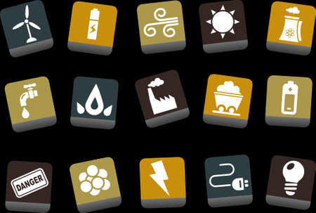 rechargeable: Vector icons pack - Yellow-Brown-Blue Series, energy collection