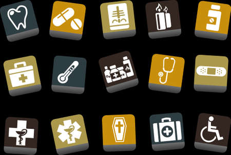radiography: Vector icons pack - Yellow-Brown-Blue Series, health collection Illustration