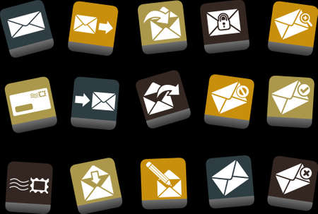 Vector icons pack - Yellow-Brown-Blue Series, mail collection Stock Vector - 5057663