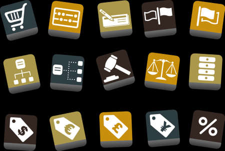 Vector icons pack - Yellow-Brown-Blue Series, money collection Vector