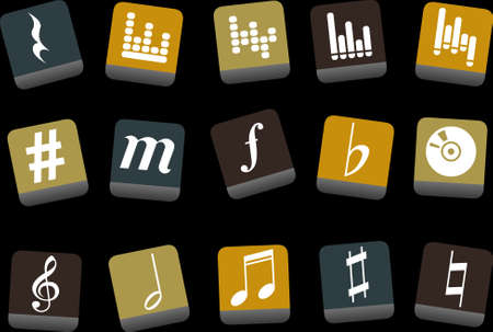 birdsong: Vector icons pack - Yellow-Brown-Blue Series, music collection